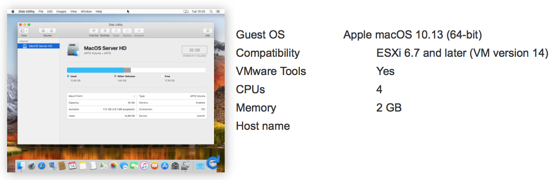 VMWare vSphere Hypervisor 6 7 supports MacOS 12 13 (and